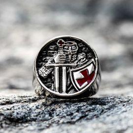 Anillo de Acero Inoxidable de Caballeros Templarios Cruzados