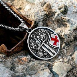Colgante de Acero Inoxidable de Caballeros Templarios Cruzados