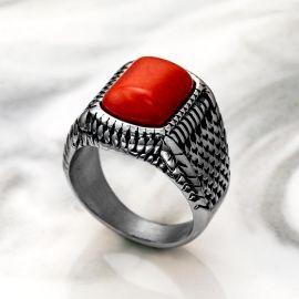 Anillo de Acero Inoxidable con Piedra Roja
