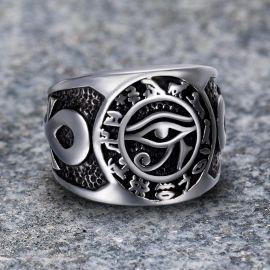 Anillo Vikingo Ojo de Horus Angora de Acero Inoxidable