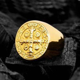 Anillo San Benedicto de Acero Inoxidable de Oro