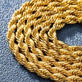 4mm Cadena de Cuerda de Oro