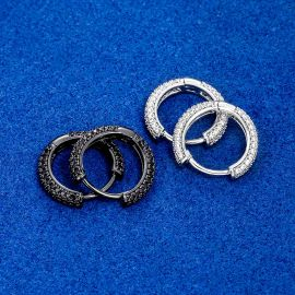 Pendientes de Aro de Círculo con Diamantes