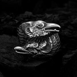 Anillo Dos Cuervos de Odín de Acero Inoxidable