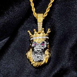 Colgante de Gorila con Corona de Rey Rugiente con Diamantes