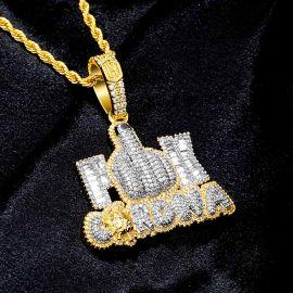 """Colgante """"F ** K CORONA"""" con Diamantes"""