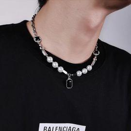 Cadena de Acero Inoxidable con Perlas de Zafiro Negro