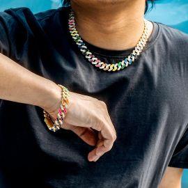 11mm Juego de Pulsera y Cadena Cubana con Diamantes Semi-engastado de Multicolor