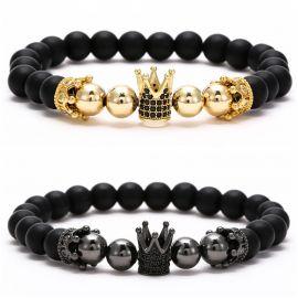 Pulsera de Corona con Diamantes de Cuentas de Cobre Esmerilado Negro