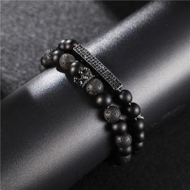 2Pcs Pulsera de Corona Elástica de Piedra Esmerilada Negra