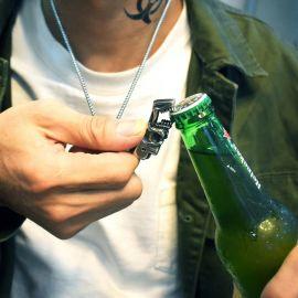 Colgante Abridor de Botellas de Cerveza con Calavera de Acero de Titanio
