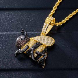 Colgante Miel de Abeja con Diamantes de Oro
