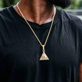 Colgante Ojo de la Providencia con Diamantes de Oro