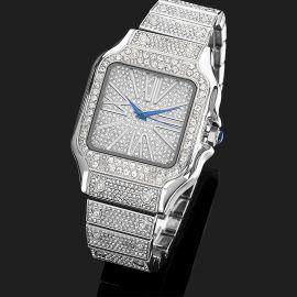 Reloj Cuadrado de Números Romanos con Diamantes de Plata para Hombre
