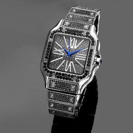 Reloj Cuadrado de Números Romanos con Diamantes de Oro Negro para Hombre