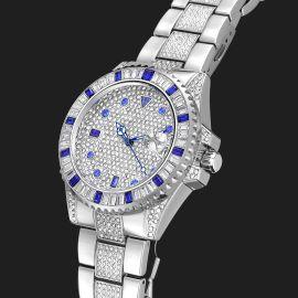 Reloj con Bisel Giratorio de Piedras Azules con Diamantes de Plata