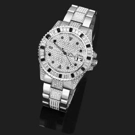 Reloj con Bisel Giratorio de Piedras Negras con Diamantes de Plata