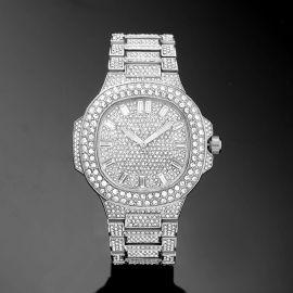 Reloj Luminoso con Forma de Ojo de Buey con Diamantes de Plata