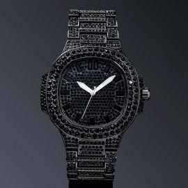 Reloj Luminoso con Forma de Ojo de Buey con Diamantes de Oro Negro
