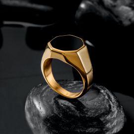 Anillo de Acero Inoxidable con Sello Negro Octágono de Oro