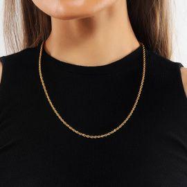 3mm Cadena de Cuerda con Acabado en Oro de 18 quilates para Mujer