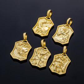 Colgante Doce Constelaciones con Diamantes de Doble Cara de Oro