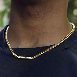 Collar Cubano Grabado Personalizado de 5 mm de Oro