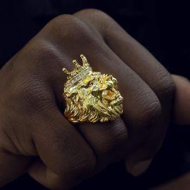 Anillo Corona Rey León de Oro