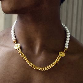 Cadena Cubana Banshee de Perlas de Oro