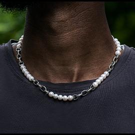 Collar de Perlas de Agua Dulce con Cadena de Acero Inoxidable