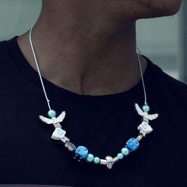 Collar de Perlas con Dados Azul y Nube