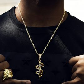 Colgante Daga y Serpiente con Diamantes
