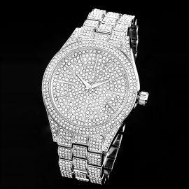 Reloj de Plata con Bisel Redondo Lleno de Diamantes para Hombre