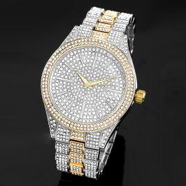 Reloj con Bisel Redondo Completamente con Diamantes de Dos Tonos para Hombre