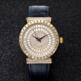 Reloj con Esfera de Corte Baguette y Correa de Piel Auténtica de Oro