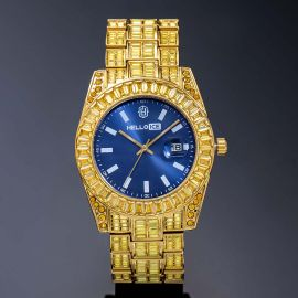 40mm Reloj Amarillo con Esfera Azul de Talla Baguette de Oro