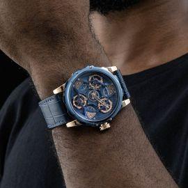 44mm Reloj Mecánico Impermeable con Correa de Cuero para Hombre