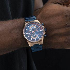 Reloj Cronógrafo con Calendario Luminoso Impermeable para Hombre con Correa de Metal