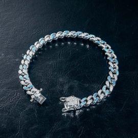 8mm Pulsera Cubana Azul Degradado con Diamantes de Plata