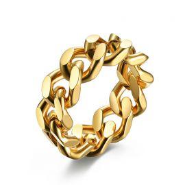Anillo de Cadena de Oro de Acero de Titanio Simple