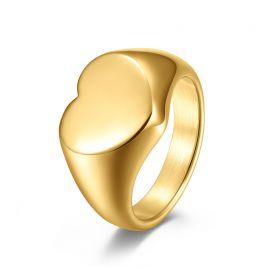 Anillo Forma del Corazón de Acero Inoxidable Chapado en Oro de 18K