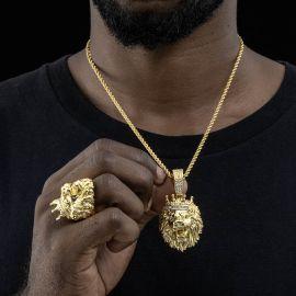 Juego de Anillo y Colgante de León con Corona de Rey con Diamantes de Oro
