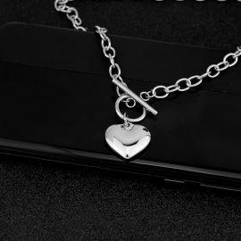 Cadena con Cierre de Palanca de Corazón de Acero Inoxidable para Mujer