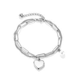 Pulsera en Forma de Corazón con Cadena de Empalme de Doble Capa de Acero Titanio para Mujer de Plata