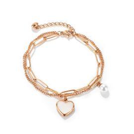 Pulsera en Forma de Corazón con Cadena de Empalme de Doble Capa de Acero Titanio para Mujer de Oro Rosa