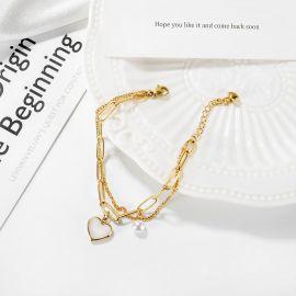 Pulsera en Forma de Corazón con Cadena de Empalme de Doble Capa de Acero Titanio para Mujer de Oro