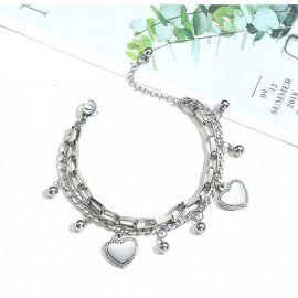 Pulsera de Acero de Titanio Multicapa con Corazón de Amor y Cuentas Redondas para Mujer de Plata