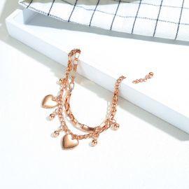 Pulsera de Acero de Titanio Multicapa con Corazón de Amor y Cuentas Redondas para Mujer de Oro Rosa