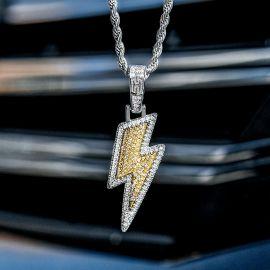 Colgante de Relámpago de Plata con Diamantes