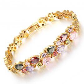 Pulsera de Cobre con Diamantes Multicolores de Oro para Mujer